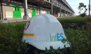 IntES Health, Safety and Environment helmet on grass